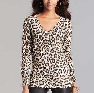 Michael Kors leopard print sweater V neck